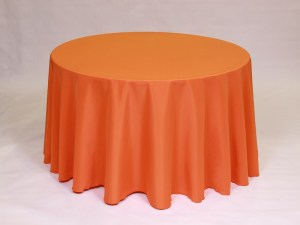 Orange tablecloth, linen and napkin rentals in Hudson and Framingham, MA