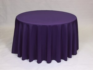 Purple tablecloth, linen and napkin rentals in Hudson and Framingham, MA