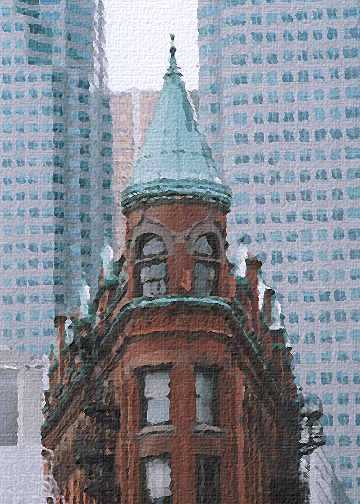 Triangle style building outside St. Lawrence Market on Front street