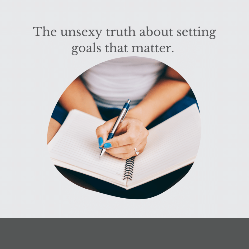 woman writing in journal, setting goals