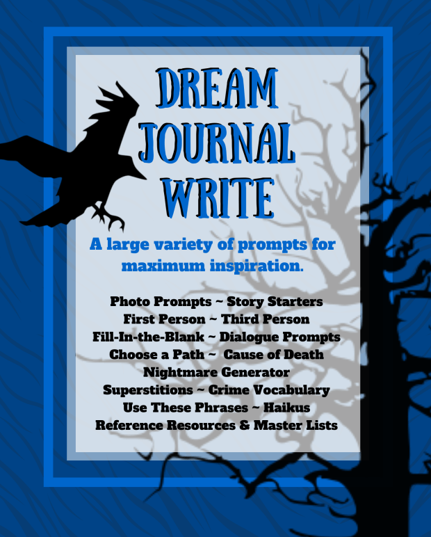 This is the back cover of Prompt Me Horror & Thriller Creative Writing Workbook & Journal