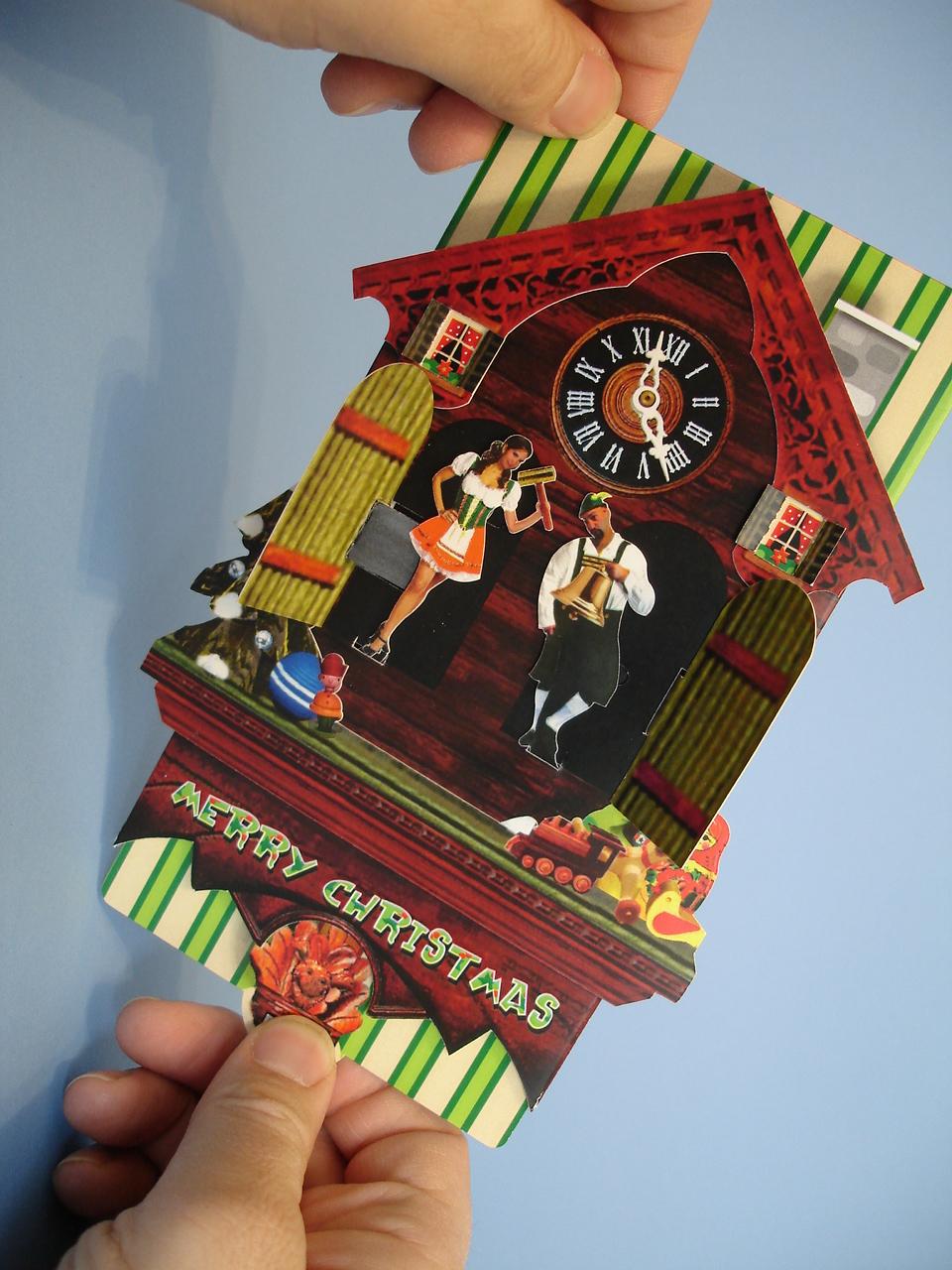 Cuckoo Clock Pop Up Christmas Card Rob Kelly Design