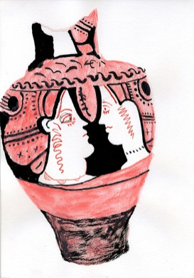 Greek vase (ink and watercolour crayon - 29 x 21 cm)