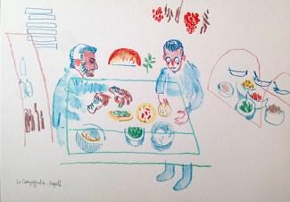La Campagnola. Watercolour crayon on paper. 20 x 30 cm