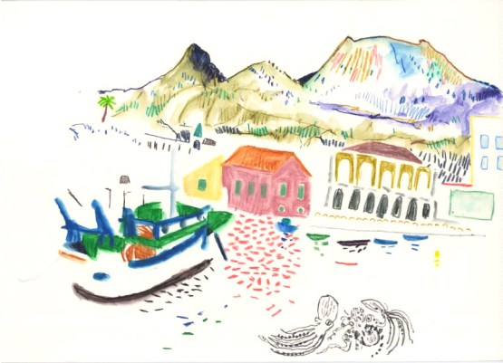 Herulaneum Port. Watercolour crayon on paper. 20 x 30 cm