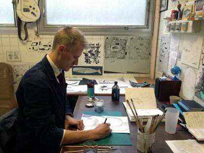 Preparatory drawing in the studio