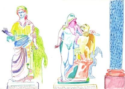 Statues. Watercolour crayon on paper. 30 x 42 cm
