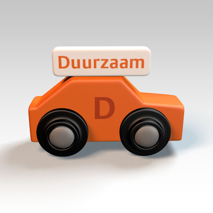 Digitale afbeelding van een 3D-presentatie-model, in de vorm van een speelgoedautootje.
