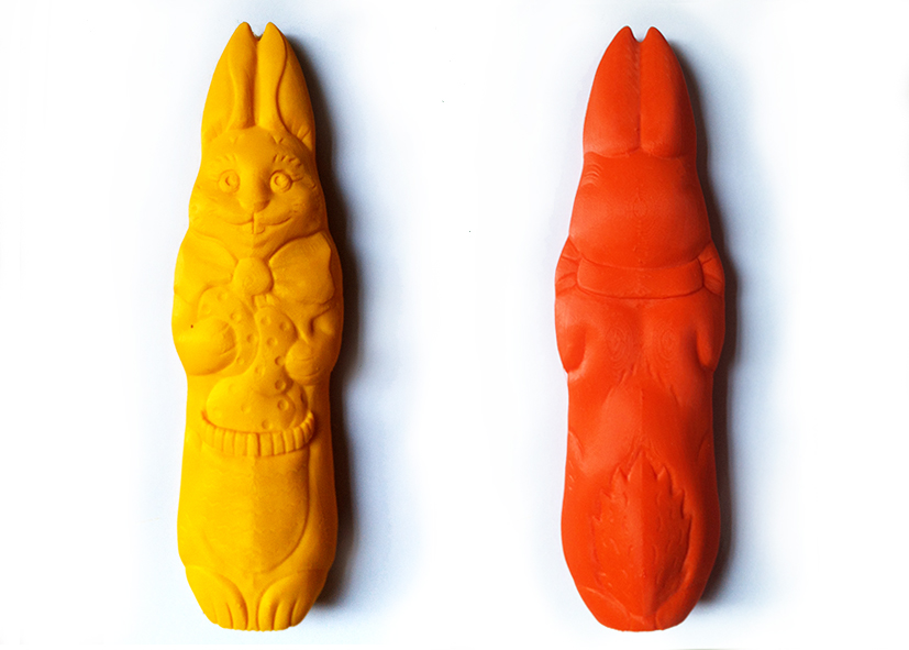 3D-prints van de voor- en achterzijde van de paashaas.