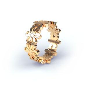 Goudkleurig 3D-model van een ring geïnspireerd op een icoontje van het font Zapf Dingbats.