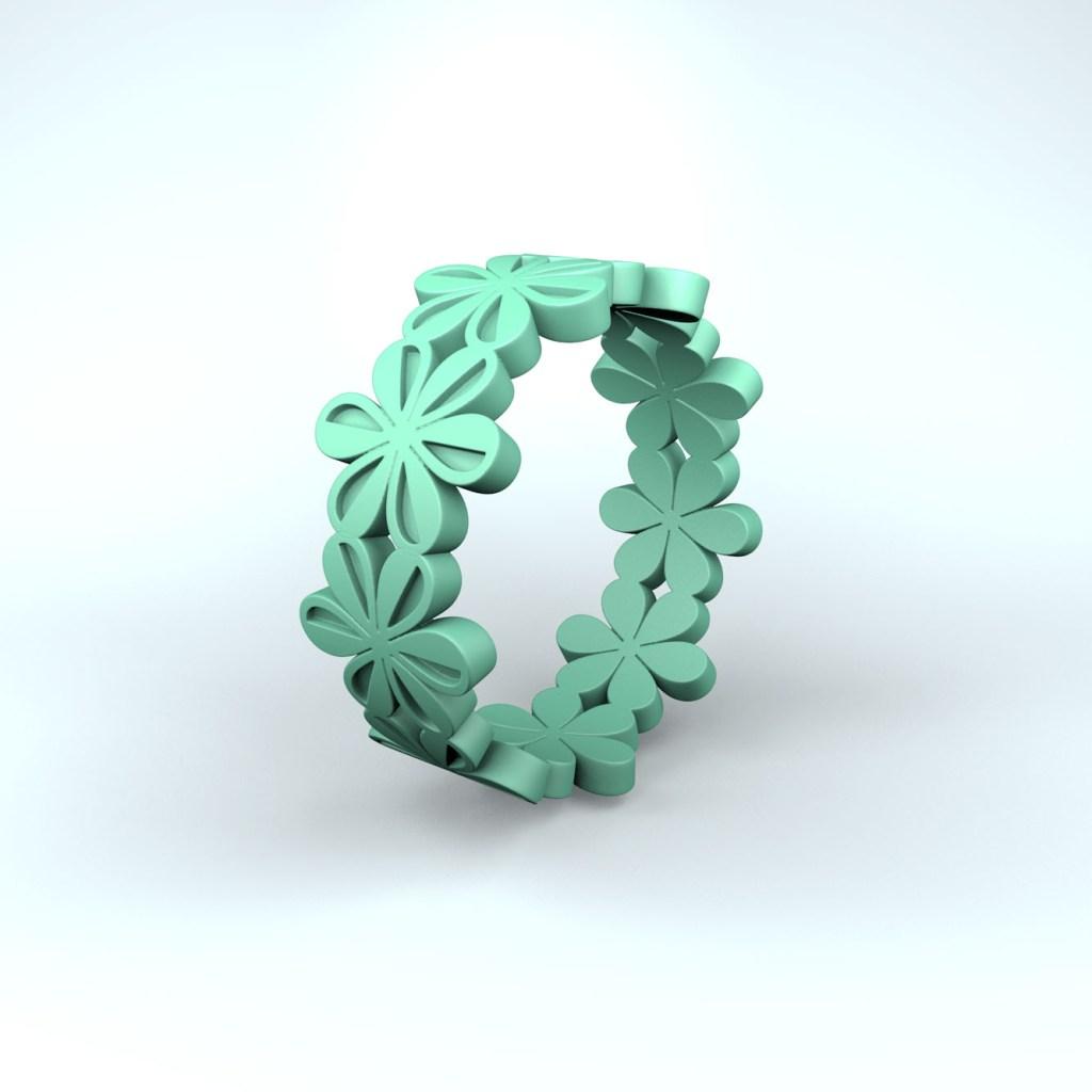 3D-model van een groene ring geïnspireerd op een icoontje van het font Zapf Dingbats.