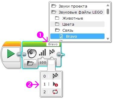 Программный блок Звук. Воспроизвести файл.