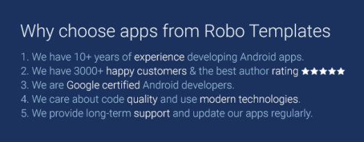Why choose apps from Robo Templates