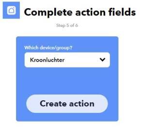 Schermafbeelding Create action in IFTTT