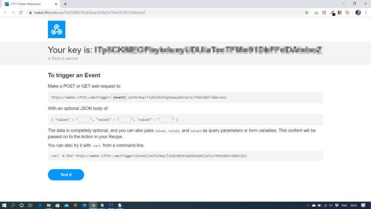 Schermafbeelding IFTTT Webhook-triggers