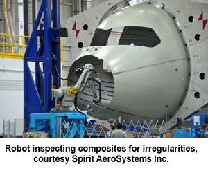 Robot inspecting composites for irregularities, courtesy Spirit AeroSystems Inc.