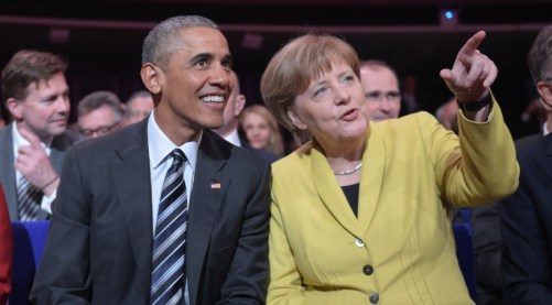 US President Barack Obama and German Chancellor Angela Merkel at the opening ceremony of Hannover Messe