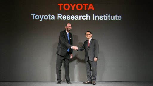 Akio Toyoda Dr Gill Pratt at the launch of Toyota Research Institute