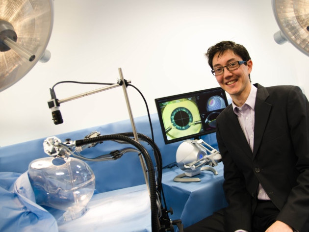 Chris Wagner, head of advanced surgical systems at Cambridge Consultants, with the Axsis robotic surgery technology