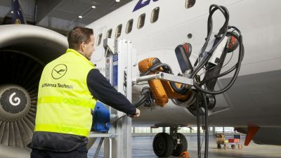Lufthansa Technik unveils robot that can scan and fix a plane's outer layer tiles