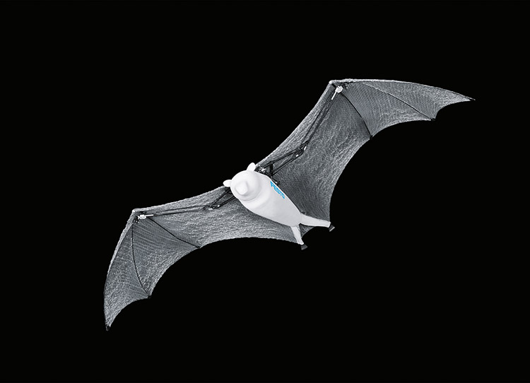 Festo showcases bio-inspired robots including rolling spider and flying 'fox' which actually looks more like a bat