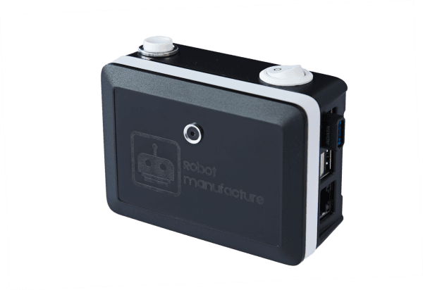 blindtouch camera with buttons on top of it and logo on its front
