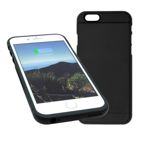 Wireless Charging Pad with Qi Wireless Charging Receiver Phone Case Charger Back Case Cover for iPhone 6 and 6S | 4.7 Inch Black | Slim Hard Case | Easy Installation(M1 Black)-590