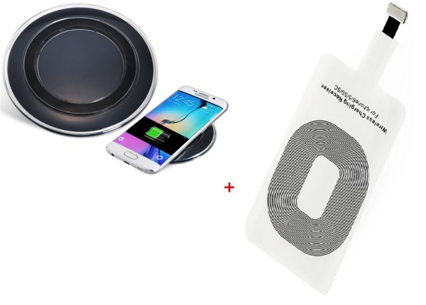 Portable Qi Wireless Charging Pad, External Wireless Charger + Qi Ultra Slim Wireless Charging Receiver Patch Module Card for IPhone 5/5c /5s/6/6s/6 Plus/6S plus(M2 Black)-0