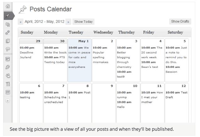 WordPress Content Calendar screenshot