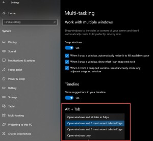 Windows 10 Multi-Taskingh Settings on Windows 10 20H2