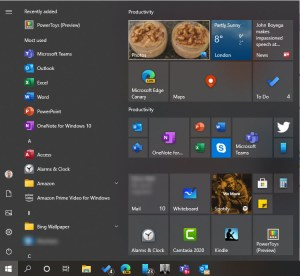 Windows 10 20H2 StartMenu
