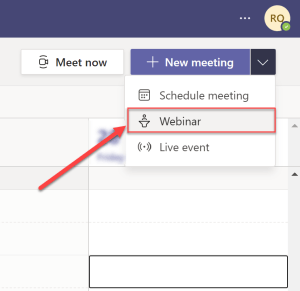 Creating a teams webinar from the calendar app