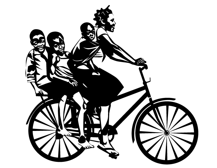 Woman, baby, girl, boy ride a bike