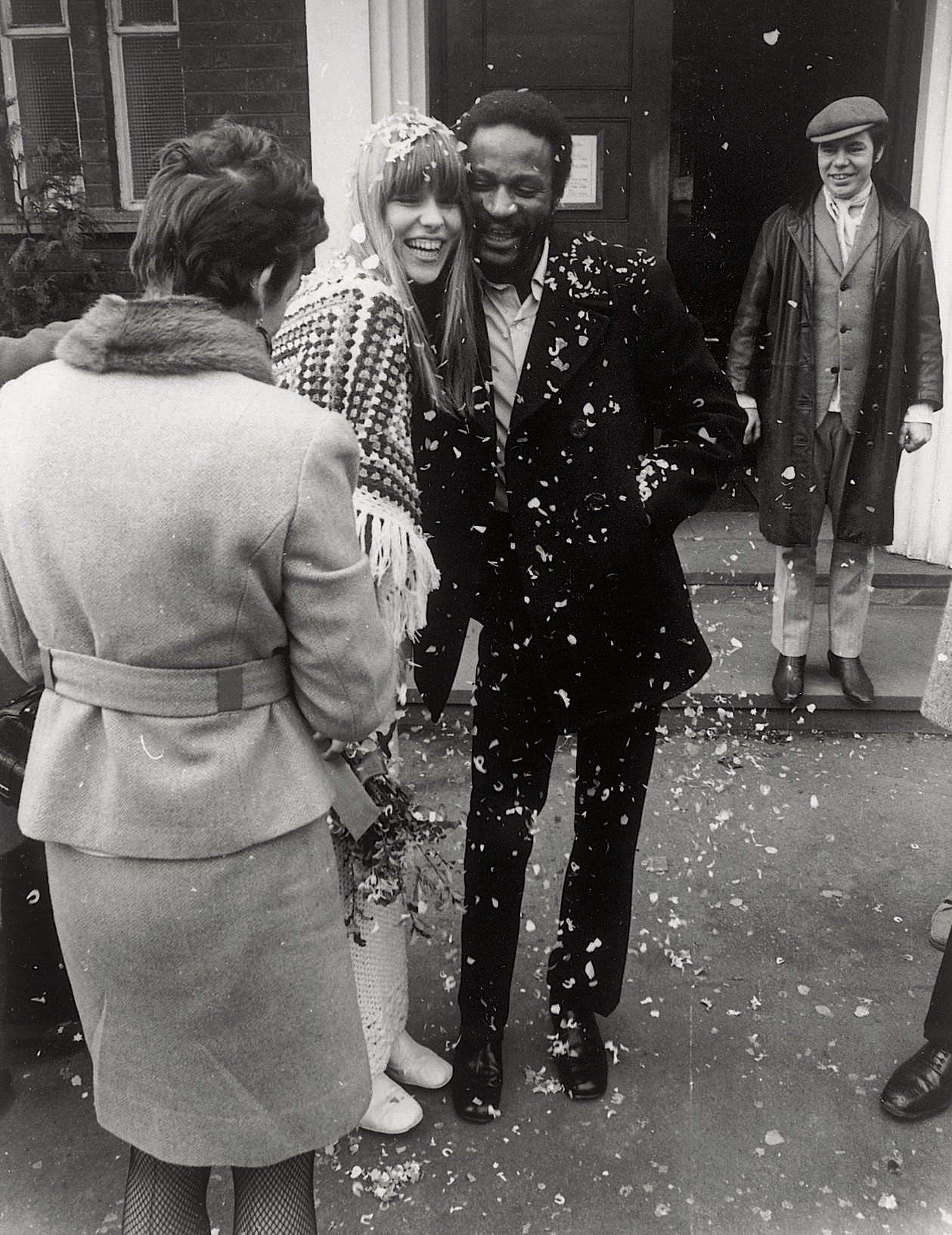 Johnny Edgecombe and his wife Ulla Vibeke Filtenborg on their wedding day at Lewisham Town Hall on the 18th of February 1970