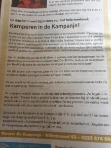 Kamperen in Schouwburg De Kampanje
