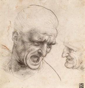 Leonardo da Vinci – Studies voor hoofden van de Slag bij Anghiari