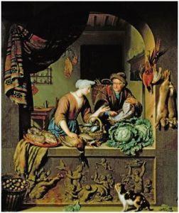 Willem van Mieris - Visboer met vrouw