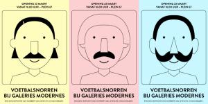 Voetbalsnorren bij Galeries Modernes, een mini-expositie van Norbert van Leyen en Johan Kramer