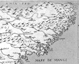 Detail van Gastaldi's kaart van Oost-Azië van 1561 met de 'Ania Pro[vincia]'