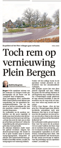 Matthie Bergman - Toch rem op vernieuwing plein Bergen, Alkmaarse Courant, 10 januari 2017