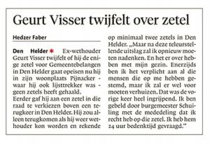 Hedzer Faber - Geurt Visser twijfelt over zetel, Helderse Courant, 23 maart 2018