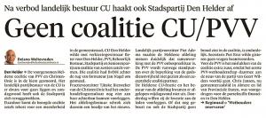 Delano Weltevreden - Geen coalitie CU:PVV, Helderse Courant, 30 april 2018