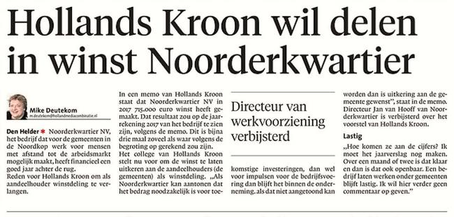 Mike Deutekom - Hollands Kroon wil delen in winst Noorderkwartier, Helderse Courant, 26 april 2018