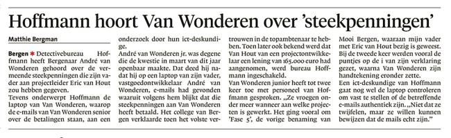 Matthie Bergman -Hoffmann hoort Van Wonderen over 'steekpenningen', Alkmaarse Courant, 12 juni 2018