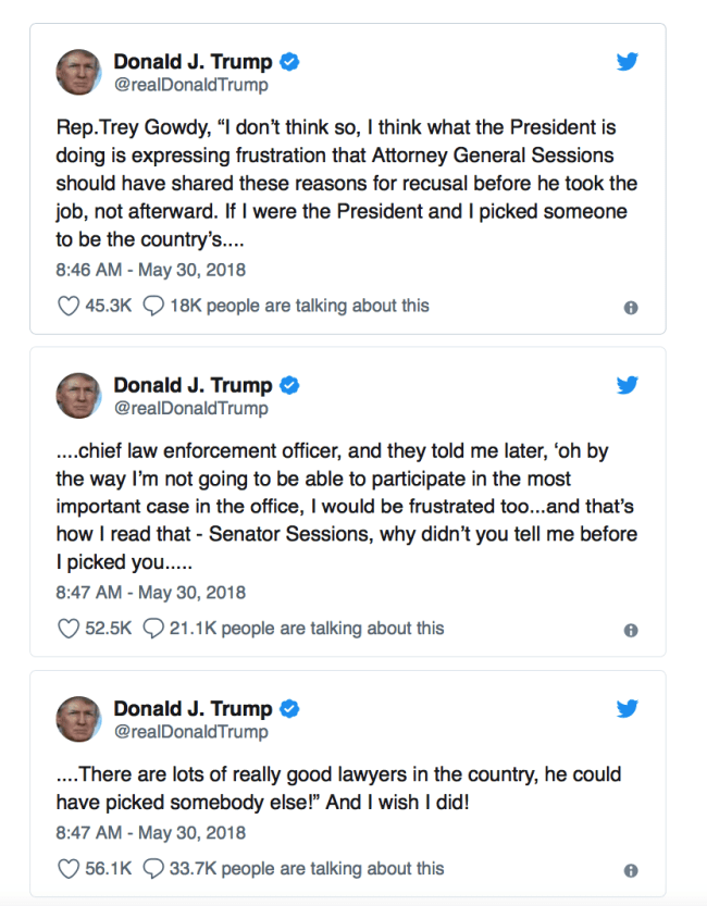 Trump tweets about Sessions (foto Twitter)
