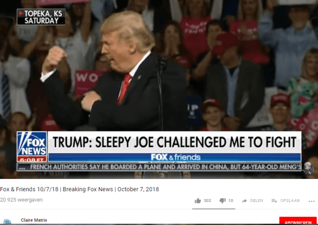 Trump braging about beating uncle Joe in the back alley (Screenshot 7-10-18)
