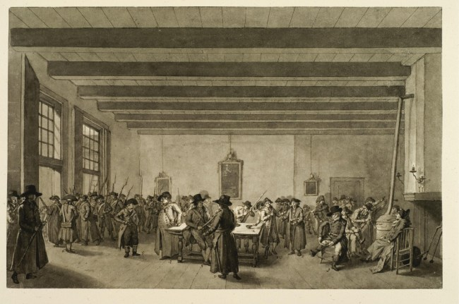 Arming of the 'Burgersocieteit' (Citizen Society) of Haarlem in 1795. The figure on the left, standing in the front, is Johannes Enschedé's father