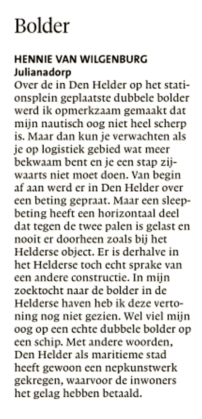 Hennie van Wilgenburg - Bolder, NHD, 10 november 2018