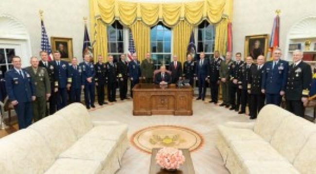 US military poses with president Trump