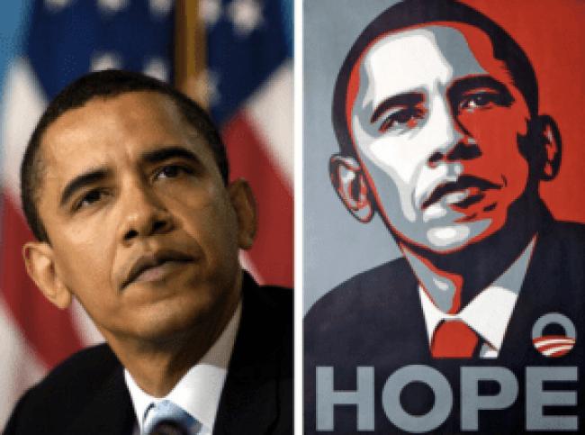 Links de foto door Mannie Garcia (Associated Press), rechts de poster door Shepard Fairey (foto Finnian & Columba)